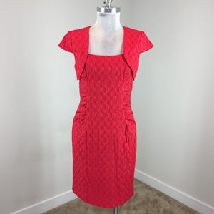 Adrianna papell S 4 6 Red Embossed Sheath dress